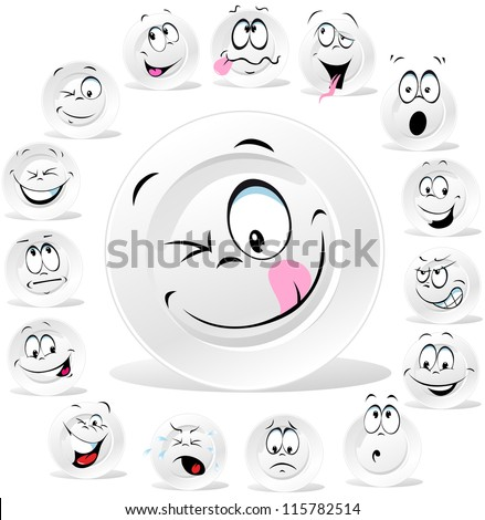 white plate cartoon with many expressions isolated on white background