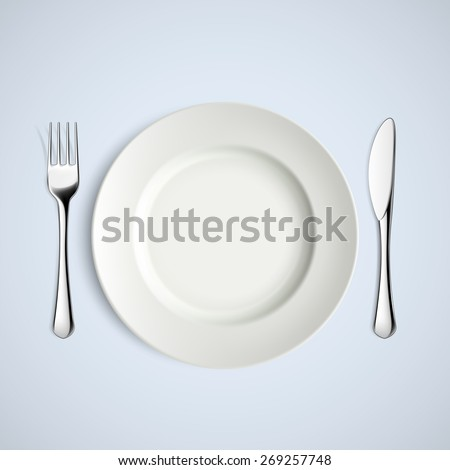 White plate, fork and knife. Vector image. - stock vector