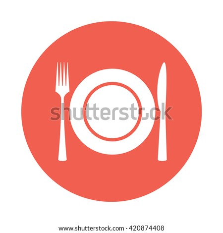 White plate / fork / knife / cutlery / meal icon vector illustration red circle / button - stock vector