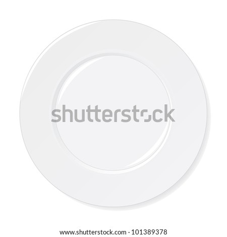 White Plate isolated on white background - stock vector