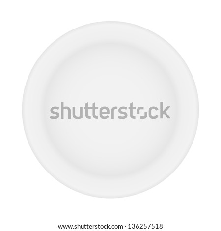 white plate isolated. vector illustration. - stock vector