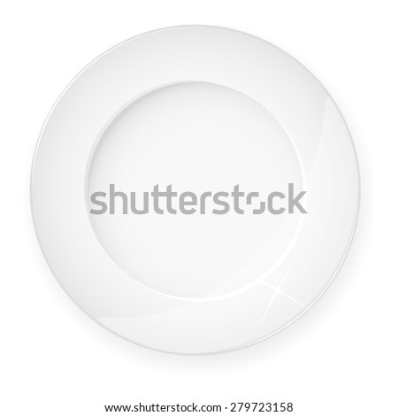 White plate on a white background. Eps10. - stock vector