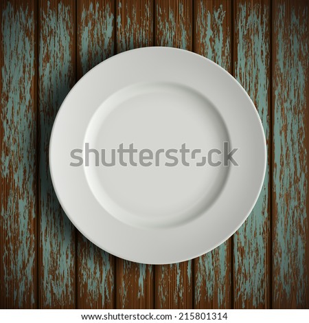 white plate on old wooden table - stock vector