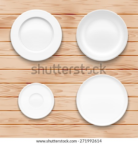 White plate set on wooden background. Kitchen dishware. Vector illustration. - stock vector