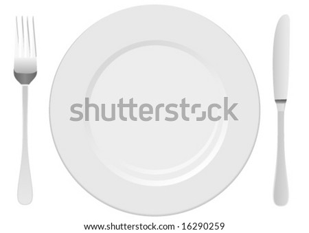 White plate with cutlery - stock vector