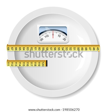 White plate with weight scale - stock vector