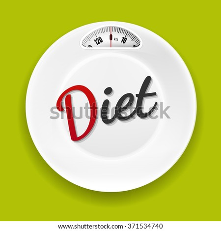 White Plate With Weight Scale With Gradient Mesh, Vector Illustration - stock vector