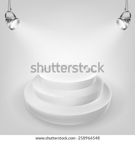 white podium and spot lights - stock vector