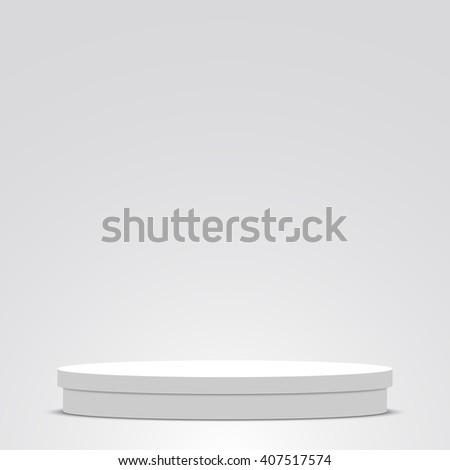 White podium. Pedestal. Round box. Scene. 3D. Vector illustration. - stock vector