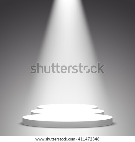 White podium. Pedestal. Scene. Spotlight. 3D. Vector illustration.