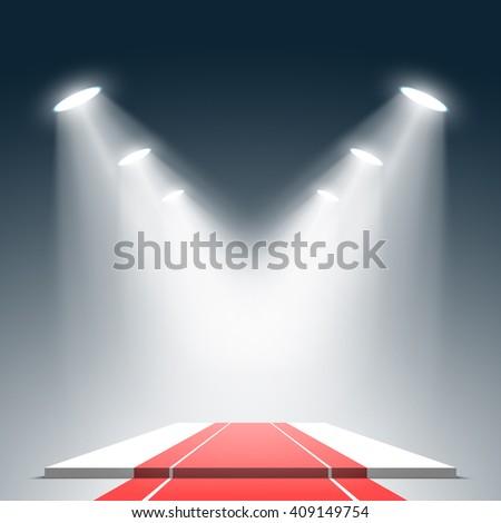 White podium with red carpet. Pedestal. Scene. Spotlight. 3D. Vector illustration. - stock vector