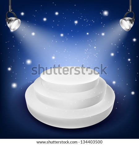 white podium with spot lights
