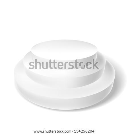 white podium with three steps - stock vector