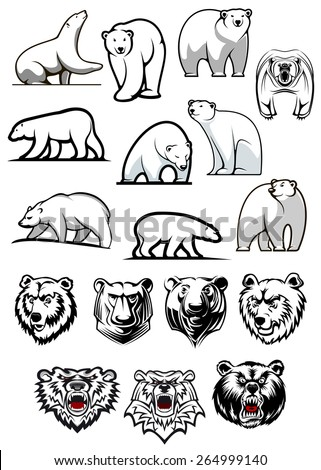 White polar bear cartoon characters showing various positions of full body and heads for tattoo or sport team mascots design - stock vector