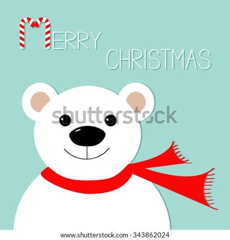 White polar bear in red scarf. Candy cane. Merry Christmas Greeting Card. Blue background. Flat design Vector illustration