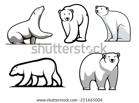 White polar bears set in cartoon style for mascot or logo design - stock vector