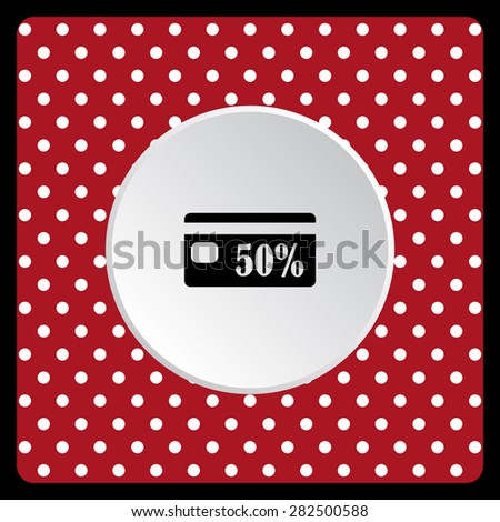 white polka dots on a red Discount label. icon. vector design - stock vector