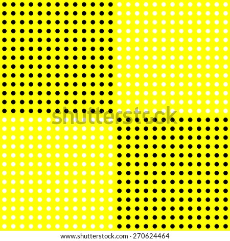 White polka dots pattern on solid yellow background - stock vector
