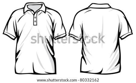 white polo shirt - stock vector
