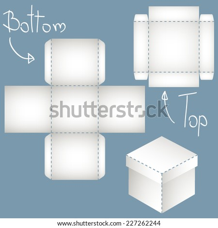 white polyhedron, box of two elements, paper model - stock vector