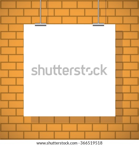 White poster. Blank paper poster on wall. White poster background, texture for your design - stock vector