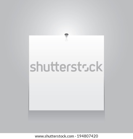 white poster on a grey wall. Vector background eps10