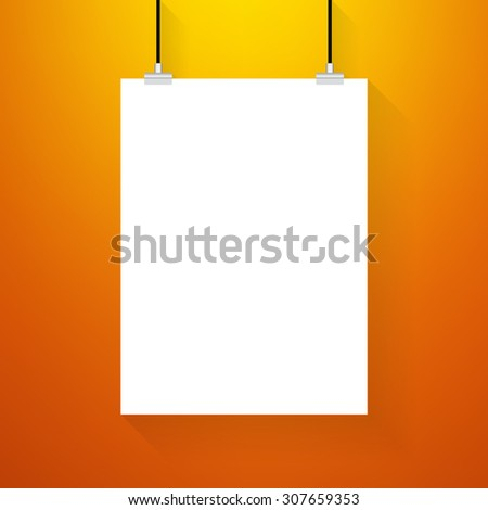 White poster on a rope. On orange wall background - Vector