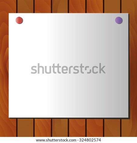 White poster on wooden background - stock vector