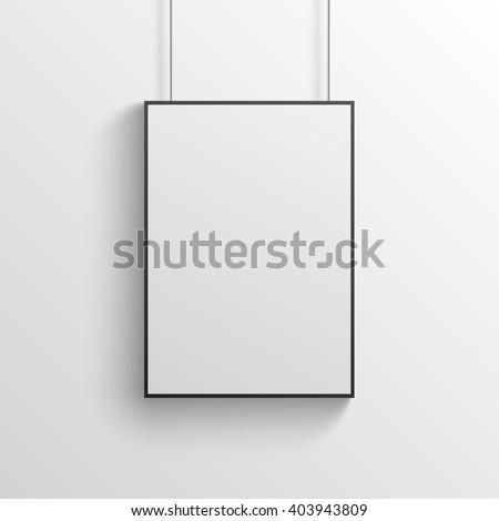 white poster with black frame mockup on grey wall - White Poster Frame