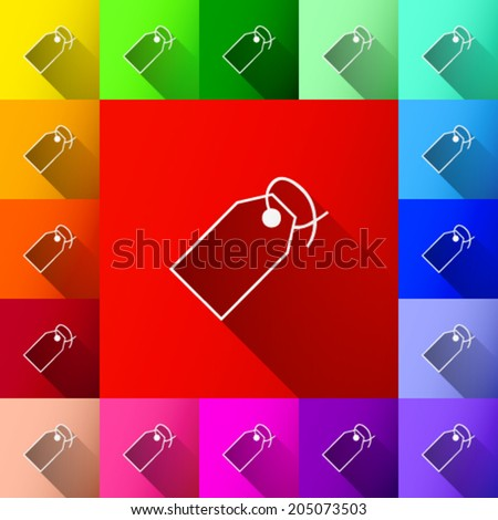 white price tag with shadow icon on colorful background set (vector)