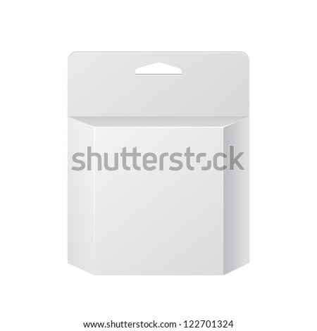 White Printer Ink Cartridge Product Package Box With Hang Slot. Blank On White Background Isolated. Ready For Your Design. Product Packing Vector EPS10 - stock vector