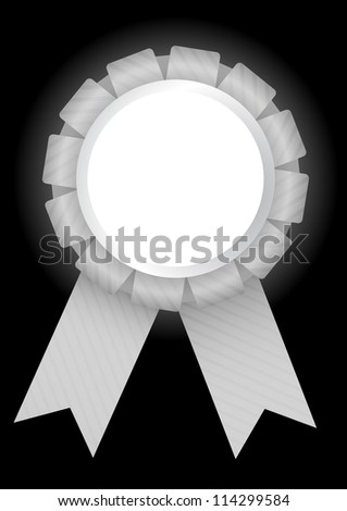 White prize badge with ribbon bow and a blank round placeholder on a black background. EPS10 vector. - stock vector