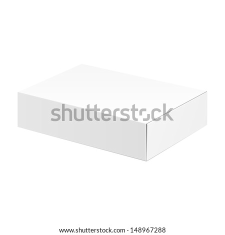 White Product Cardboard Package Box. Illustration Isolated On White Background. Ready For Your Design. Vector EPS10  - stock vector