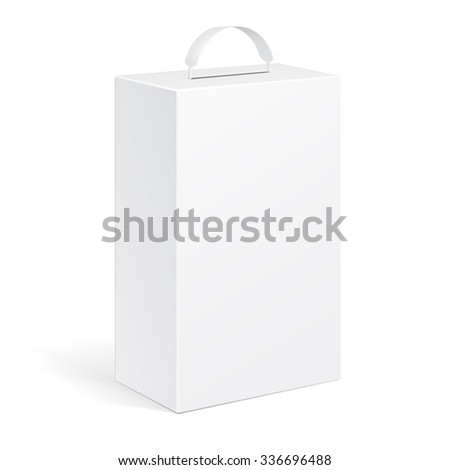 White Product Cardboard Package Box With Handle. Illustration Isolated On White Background. Mock Up Template Ready For Your Design. Vector EPS10 - stock vector
