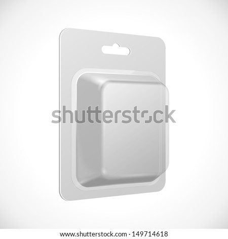 White Product Package Blister Pack Box. Illustration Isolated On White Background. Vector EPS10  - stock vector