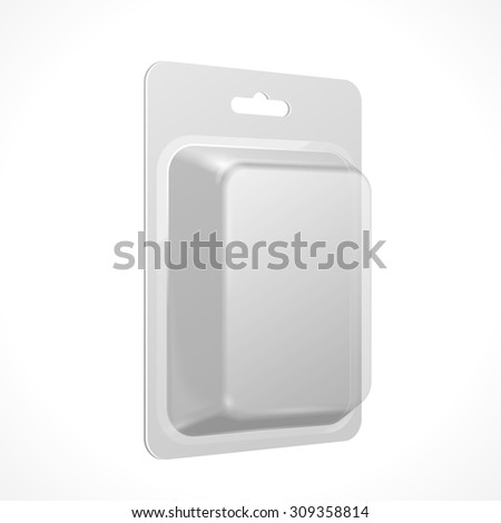 White Product Package Box Blister Illustration Isolated On White Background. Mock Up Template Ready For Your Design. Product Packing Vector EPS10 - stock vector