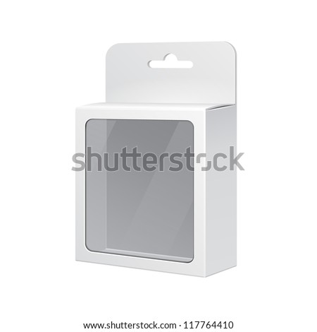 White Product Package Box With Rectangular Window. Illustration Isolated On White Background. Ready For Your Design. Vector EPS10