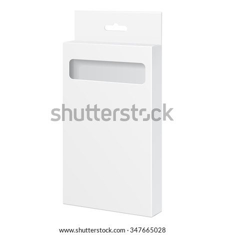 White Product Package Box With Window. For Pencils, Pens, Crayons, Felt-tip Pens Illustration Isolated On White Background. Mock Up Template Ready For Your Design. Product Packing Vector EPS10 - stock vector