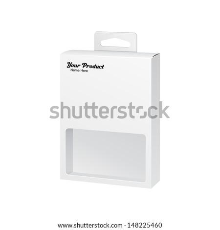 White Product Package Box With Window Illustration Isolated On White Background. Vector EPS10  - stock vector