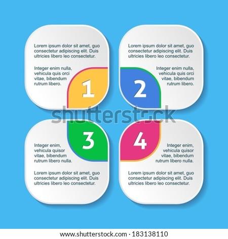 White progress squares for four steps and description - stock vector