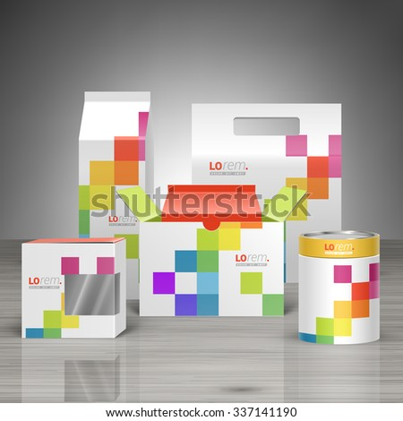 White promotional package design for corporate identity with color square pattern. Stationery set - stock vector