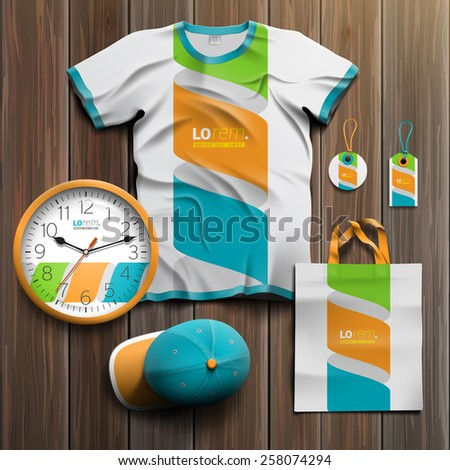 White promotional souvenirs design for corporate identity with color spiral element. Stationery set - stock vector
