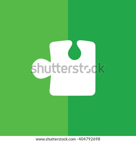 White puzzle icon vector illustration. Green background - stock vector