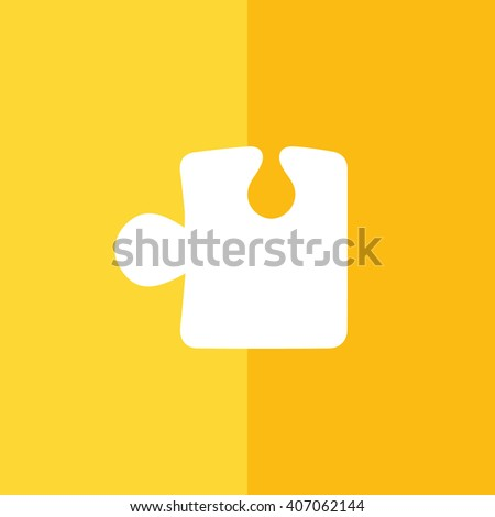 White puzzle icon vector illustration. Yellow background - stock vector