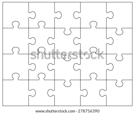 Jigsaw puzzle blank template 6x4 elements stock vector for Jigsaw puzzle template for word