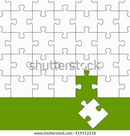 white puzzle with green background and the right puzzle piece - stock vector