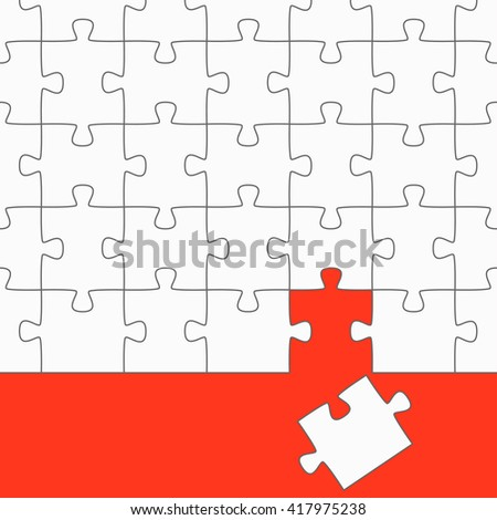 white puzzle with red background and the wrong puzzle piece - stock vector