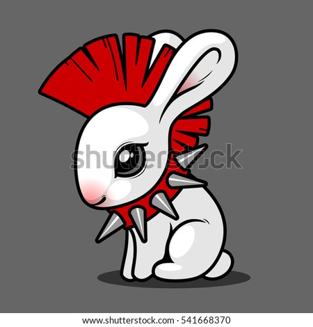 white rabbit with a mohawk on his head sitting on a gray background