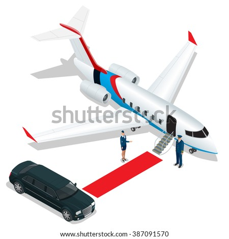 White reactive private jet. White private jet and open ladder, red carpet at the airpor. Small private airplane. Vector 3d flat isometric illustration. Business airlines.