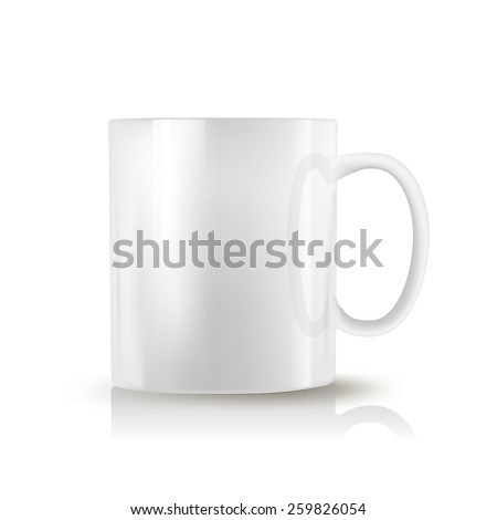 white realistic cup on white background  - stock vector